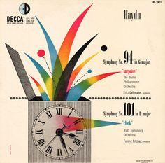 Decca album sleeve for Haydn symphonies by Swiss-born design pioneer Erik Nitsche (1908-1998). Provenance unknown.