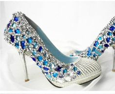 Handmade blue crystal wedding shoes, party shoes , prom shoes op Etsy, 103,93€