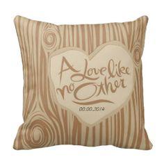 Faux Bois heart on tree throw pillow