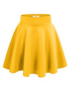Amazon.com: Okstar Women High Waist Full Stretchy Skirt Flared ...