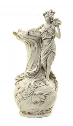 Royal Dux Porcelain Figural Vase, Height 17 inches