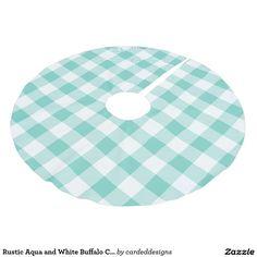 Rustic Aqua and White Buffalo Check Plaid Brushed Polyester Tree Skirt