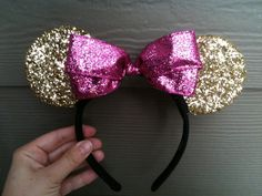 Gold and Pink Minnie Mouse Ears via Etsy Disney Mickey Ears, Minnie Mouse Party, Mickey Minnie Mouse, Mouse Parties, Disney Diy, Disney Crafts, Minnie Birthday, 2nd Birthday, Pink Minnie