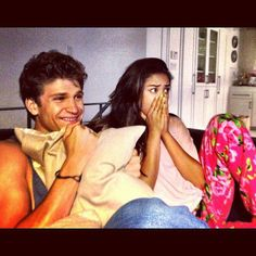 Shay Mitchell & Keegan Allen watching Pretty Little Liars
