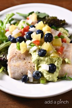 Baked Mahi Mahi with Pineapple Blueberry Salsa makes a delicious, quick and easy meal perfect for a weeknight supper or entertaining!