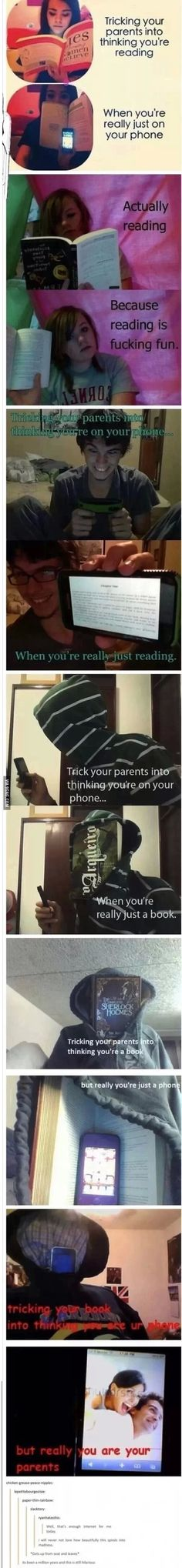 Tumblr- book, phone and parents... What.