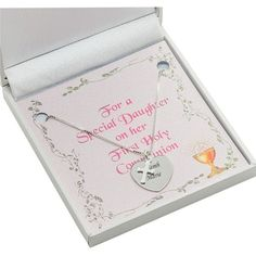 Sterling Silver First Holy Communion Necklace with Personalised Engraving and Card for Daughter, Niece, Sister etc www.jewels4girls.net