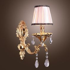 Elegant Crystal Wall Light in Pink