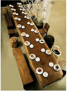 Communal table w/organic irregular seating