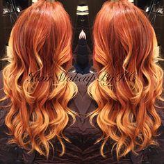 Fire red balayage hair