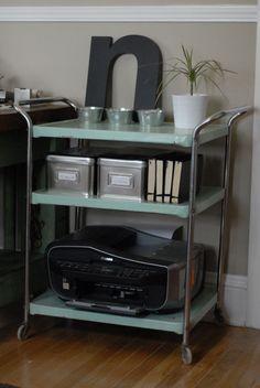 25 Awesomely Creative Ways To Use A Bar Cart – Home Office Design Vintage Printer Storage, Printer Cart, Printer Stand, Printer Station, Metal Cart, Gold Bar Cart, Office Printers, Bar Cart Decor, Home Office Desks