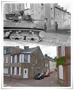 Viale Divisione Leclerc a Coutances. Dietro il carro Rue de la Croix #NORMANDIA1944