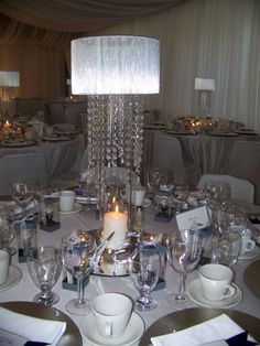 Lampshade & Crystal Centerpiece