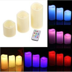 Candle Led Flameless Light Flashing Color Changed Remote Control Hot 3 Pcs/Set  #New