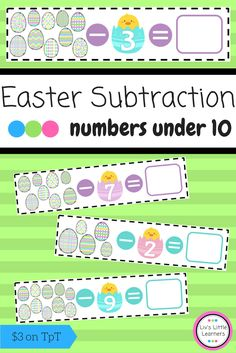 Easter Subtraction Cards | numbers under 10 | Math | Number | Math Centres | Activity | Early Childhood