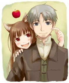 Holo and Lawrence (and Holo's Apple) (Spice and Wolf) Artist Unavailable Spice And Wolf, Wolf Deviantart, Wolf Ears, Wolf Quotes, Wolf Pictures, Anime Nerd, Kawaii, Neon Genesis Evangelion, Anime Comics