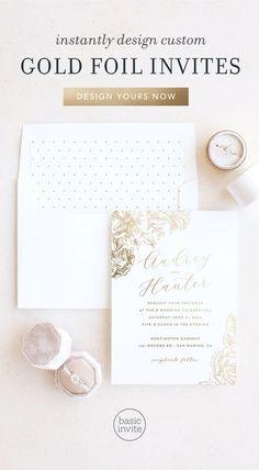 55 Best Gold Foil Wedding Invitations