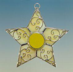 Amber Gold Filigree Stained Glass Star Ornament Suncatcher. $15.00, via Etsy.