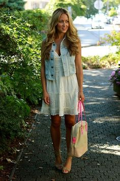 cotton dress + jean jacket