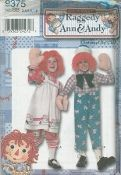 An unused original ca. 2000 Simplicity pattern 9375.  Toddler's and Child's Raggedy Ann and Andy Costume.