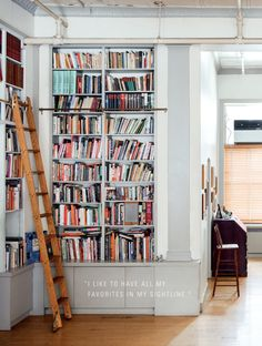 A visual delight and an inspiration for every bibliophile with a growing home library, this dream-and-drool design book features some of the most jaw-dropping. Floor To Ceiling Bookshelves, Wall Bookshelves, Bookcases, Bookcase With Ladder, Building Bookshelves, Bookshelves For Small Spaces, Creative Bookshelves, Bookshelves In Living Room, Bookshelf Ideas