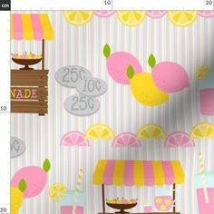 Lemonade Stand Fabric - Pink Lemonade Stand By Sandityche- Lemonade Stand Pink Yellow Summer Kids Cotton Fabric By The Metre by Spoonflower Double Gauze Fabric, Cotton Twill Fabric, Minky Fabric, Chiffon Fabric, Satin Fabric, Cotton Canvas, Pink Lemonade, Reusable Bags, Summer Kids