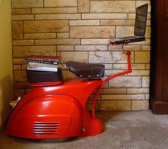 I want this! transformed an old vespa into a study desk/laptop stand.