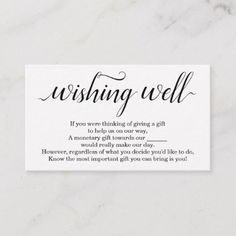A Note on Gifts Wedding Wishing Well Card Heart | Zazzle ...