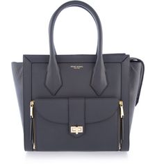 Henri Bendel Rivington Tote ($398) ❤ liked on Polyvore featuring bags, handbags, tote bags, grey, zip tote bag, grey tote bag, gray tote, zippered tote bag e henri bendel handbags
