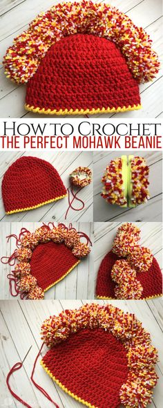 How to Make the Perfect Mohawk Beanie Using Pom Poms http://hearthookhome.com/make-perfect-mohawk-beanie-using-pom-poms/?utm_campaign=coschedule&utm_source=pinterest&utm_medium=Ashlea%20K%20-%20Heart%2C%20Hook%2C%20Home&utm_content=How%20to%20Make%20the%20Perfect%20Mohawk%20Beanie%20Using%20Pom%20Poms