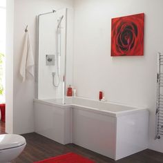 Premier L Shaped Shower Bath, Square Bath with Quattro Bath Screen and Front Panel Left Hand
