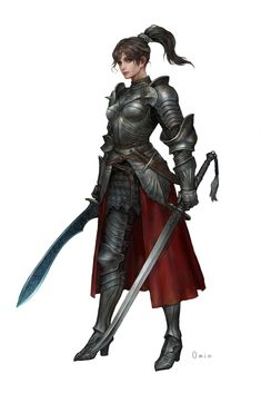 ArtStation - Youngmin Seo : Character Painting (Knight) By. Fantasy Female Warrior, Female Armor, Female Knight, Fantasy Armor, Fantasy Girl, Lady Knight, Woman Warrior, Female Character Design, Character Design Inspiration