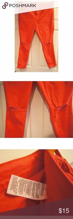 OLD NAVY Ripped Ankle Skinny Jeans Old navy skinny ripped jeans, red orange in color. Never worn. No tags. Old Navy Jeans Skinny
