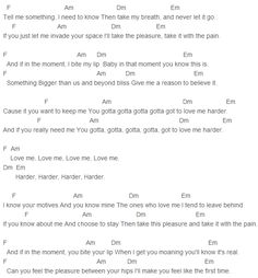 Ariana Grande, My Everything, The Weeknd Love Me Harder Chords Lyrics for Guitar Ukulele Piano Keyboard with Strumming Pattern on Standard No capo, Tune down and Capo Version. Guitar Sheet Music, Music Chords, Piano Music, Ukulele Songs, Piano Songs, Ukulele Chords, Ariana Grande Songs Lyrics, Love Me Harder, Piece Of Music