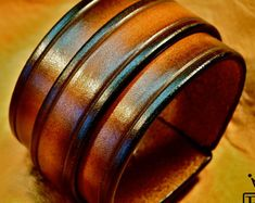 Leather bracelet Sunset Tan fade cuff wristband by mataradesign