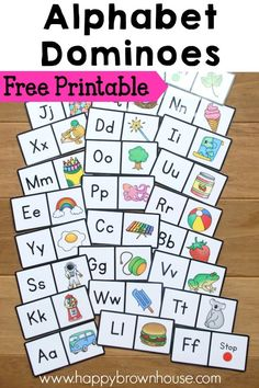 Free Printable Alphabet Dominoes for preschool and kindergarten. Kid match the letters and pictures for beginning sounds practice. Great ABC game or literacy center idea! Preschool Literacy, Literacy Activities, In Kindergarten, Alphabet Games For Kindergarten, Literacy Skills, Literacy Stations, Preschool Binder, Literacy Bags, Preschool Letters