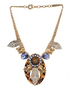 Oval Pendant Necklace with Blue Crystal Quartz - $82