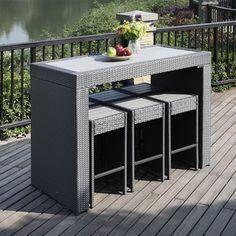 c316a0213f3 Portfolio Aldrich Grey 7-piece Indoor Outdoor Resin Wicker Barstool  Table  Set