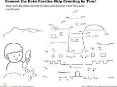 Worksheets: Connect the Dots: Practice Skip Counting by Tens!