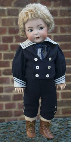 cm) Rare Antique German 616 S&H Character Boy doll with flirty eyes Victorian Dolls, Antique Dolls, Vintage Dolls, Rare Antique, Sailor Outfits, Boy Outfits, Costume Marin, Boy Doll Clothes, Indian Dolls