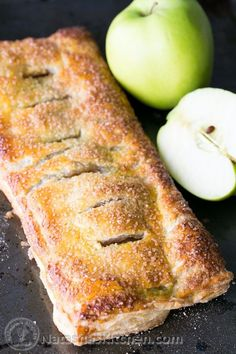This apple slab pie is loaded with caramelized apples and wrapped in a flaky puff pastry crust. It's so easy and quick to whip up.