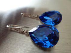 Blue Sapphire Earrings Crystal Teardrop Swarovski - Blue Wedding Jewelry Bridal Earrings Zirconia - LIMITED EDITION. via Etsy.