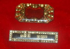 Vintage Lot of 2 Rhinestone Brooches One is Signed CATHERINE POPESCO FRANCE - http://designerjewelrygalleria.com/catherine-popesco/vintage-lot-of-2-rhinestone-brooches-one-is-signed-catherine-popesco-france/