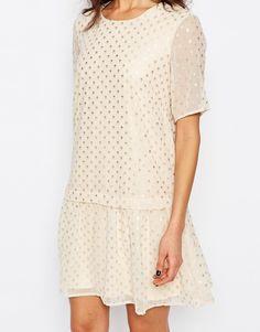 Image 3 ofY.A.S Painy Drop Waist Dress in Foil Spot Print