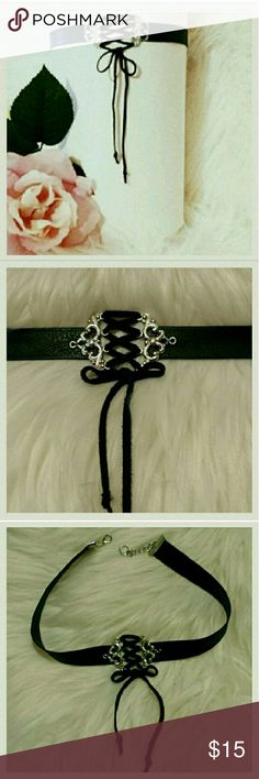 """Corset choker Silver scroll design connectors create a corset front with genuine black deer tan lace leather cording.  1/2"""" wide band.  12"""" to 14"""" length.  Adjustable silver metal chain with lobster claw clasp. Jewelry Necklaces"""