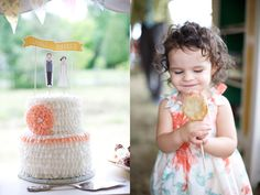 Cake toppers!  Mint and Peach Ontario Wedding