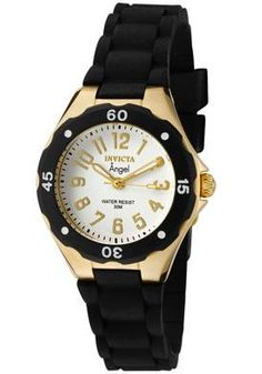 Women's Invicta Watch ~ Angel White Dial 18K Gold Plated SS Case Black Rubber    Sale: $150