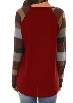 Women's Casual Long Sleeve Round Neck Red Loose Tunic T Shirt With Poc – Sampeel Women's Casual, Latest Fashion Trends, Men Sweater, Bring It On, Tunic, Pocket, Clothes For Women, Long Sleeve, Sweaters