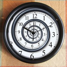 SPIRAL Look Cool Dali Nautilus Feng Shui BIG FULL 10 inch black wall clock Under 25.00