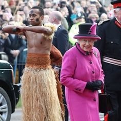 Queen Elizabeth II attends the Fiji Exhibition at the University of East Anglia in Norwich UK